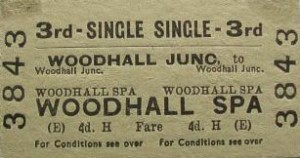 Photo 9 - 3rd class railway ticket from Woodhall Junction to Woodhal Spa. (Photo courtesy of Woodhall Spa Cottage Museum)