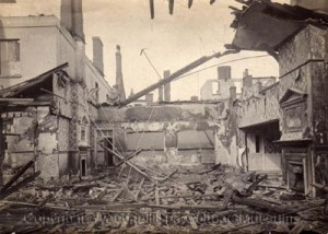Photo 6 – Part of the gutted interior of the Victoria Hotel after the fire on Easter Sunday 1920. (Photo courtesy of Woodhall Spa Cottage Museum).
